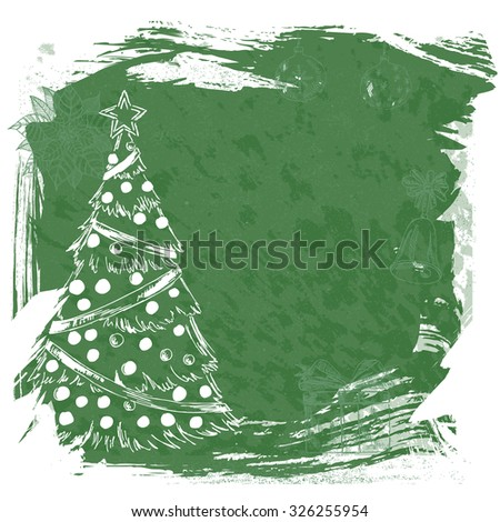New year vintage invitation. Vector Christmas calligraphic inscription, Christmas tree, Santa Claus, snowman, bell, balls, puasentiya. Retro background for your design.  - stock photo