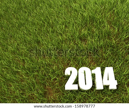 New 2014 year white 3D figres in green grass.