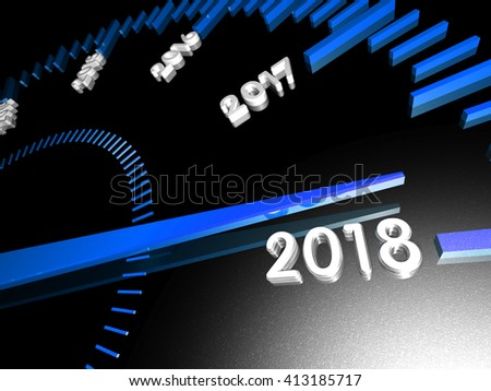 New Year 2018. Will be soon. Clock close up. Blue arrow. On black.
