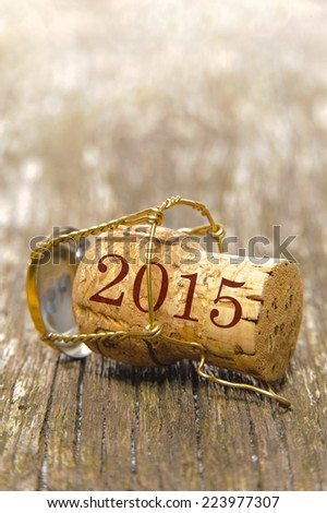 new year 2015 with cork of champagne