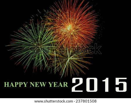 New Year 2015 With Fireworks On Black Background - stock photo