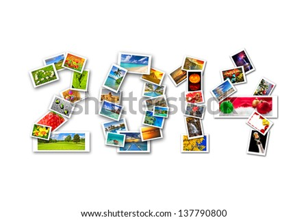 New Year with four seasons in photography. Sign made by collage of my photos - stock photo