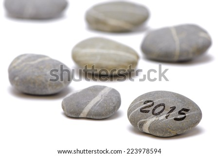 new year 2015 with line of stones - stock photo