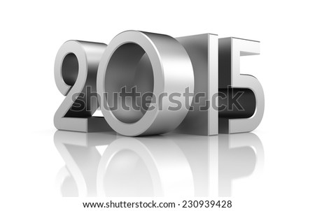 New year with reflection - stock photo