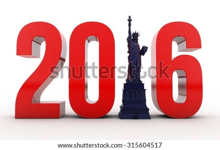 New Year 2016 with Statue of Liberty