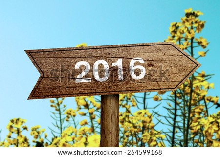 New year wooden roadsign with beautiful natural background. - stock photo