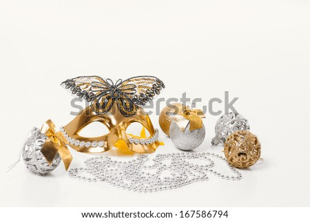 New 2014 year. xmas ornaments on bright holiday background with space for text. Christmas background. - stock photo