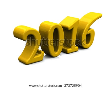 New Year 2016 Yellow 3d Text Isolated on white - stock photo