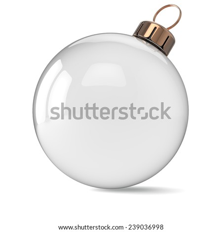 New Years Eve Christmas ball ornament clean decoration wintertime bauble icon traditional. Shiny Merry Xmas winter holidays symbol blank. 3d render isolated on white background - stock photo