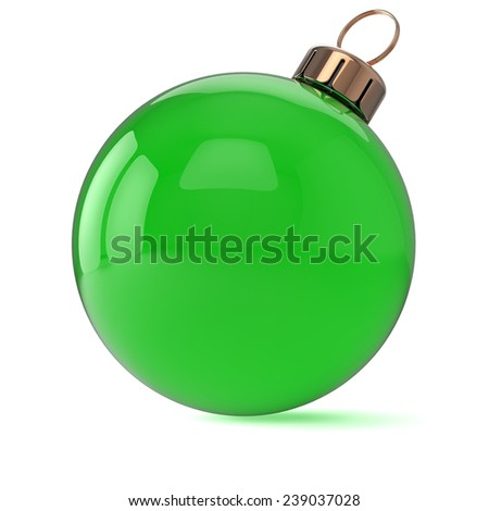 New Years Eve Christmas ball ornament green decoration wintertime bauble icon traditional. Shiny Merry Xmas winter holidays symbol blank. 3d render isolated on white background - stock photo