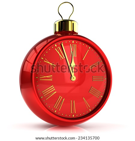 New Years Eve countdown alarm clock bauble Christmas ball ornament decoration icon concept. Traditional wintertime midnight future beginning symbol. 3d render isolated on white background - stock photo