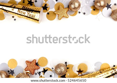 New Years Eve double border of confetti and decor isolated on a white background