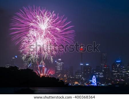 New Years Eve Fireworks, Sydney - stock photo