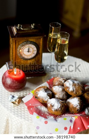 New years eve in Holland with traditional food - stock photo