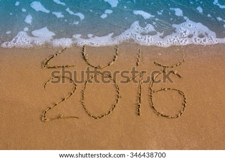 New Years 2016 is coming concept, 2016 replace 2015 concept on the sand beach - stock photo