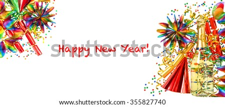 New Years party decoration. Holidays banner. Multicolored champagne, garlands, serpentine and confetti on white  background - stock photo