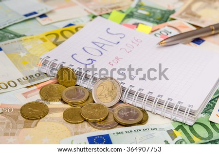 New years resolutions save money. euro background