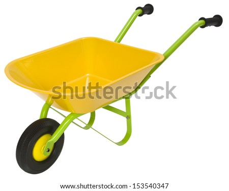 New yellow and green wheelbarrow isolated on a white background. Clipping path included.