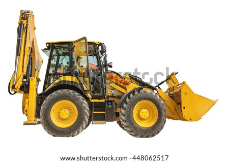 New yellow bulldozer isolated on a white background