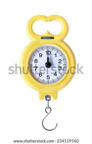 New yellow portable balance on white background. Isolated with clipping path - stock photo