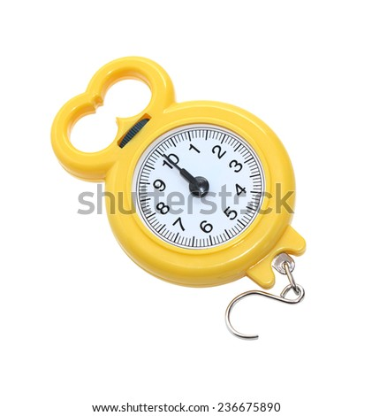 New yellow portable weigher on white background. Isolated with clipping path - stock photo