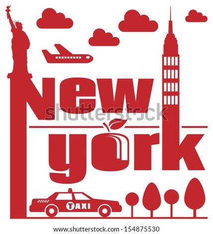 New York Abstract. Retro styled illustration based on themes from the city of New York.  - stock photo