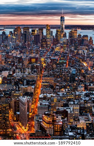 New York aerial cityscape at sunset - stock photo