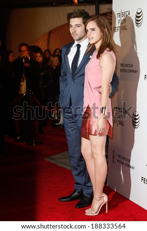 "NEW YORK-APR 20: Actors Roberto Aguire and Emma Watson (R) attend the ""Boulevard"" premiere at the BMCC TriBeCa PAC during the 2014 TriBeCa Film Festival on April 20, 2014 in New York City. - stock photo"