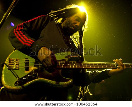 NEW YORK - APR 17: Bass guitarist Darryl Jenifer of Bad Brains performs at Irving Plaza on April 17, 2012 in New York City. The iconic East Coast punk band formed in Washington, D.C. in 1977. - stock photo
