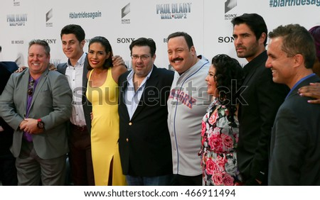 "NEW YORK-APR 11:Gary Valentine, David Henrie, Daniella Alonso, Andy Fickman, Kevin James, Raini Rodriguez, Eduardo Verastegui & Jack Giarraputo at ""Paul Blart: Mall Cop 2"" premiere in New York City."