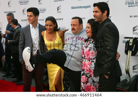 "NEW YORK-APR 11: (L-R) David Henrie, Daniella Alonso, Kevin James, Raini Rodriguez and Eduardo Verastegui attend the premiere of ""Paul Blart: Mall Cop 2"" on April 11, 2015 in New York City."