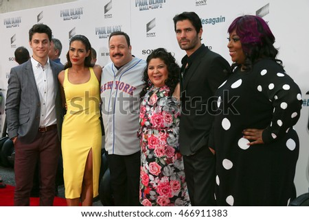 "NEW YORK-APR 11: (L-R) David Henrie, Daniella Alonso, Kevin James, Raini Rodriguez, Eduardo Verastegui & Loni Love attend the ""Paul Blart: Mall Cop 2"" premiere on April 11. 2015 in New York City."