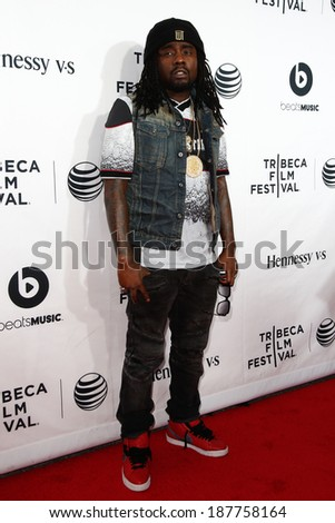 "NEW YORK-APR 16: Rapper Wale attends the world premiere of ""Time Is Illmatic"" at the 2014 TriBeCa Film Festival Opening Night at the Beacon Theatre on April 16, 2014 in New York City. - stock photo"