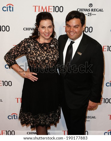 NEW YORK-APR 29: Songwriter Robert Lopez (R) and wife Kristen Anderson-Lopez attend the Time 100 Gala for the Most Influential People at Frederick P. Rose Hall on April 29, 2014 in New York City.