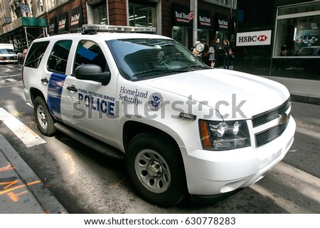 New York, April 28, 2017: A Federal Protective Service vehicle is parked in the street in downtown Manhattan.