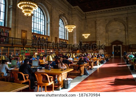 NEW YORK-APRIL 14: A large hall in the New York City Public Library on April 14  2014 in Manhattan. The New York City Public Library is the second largest library in the United States. - stock photo