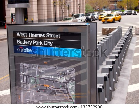 NEW YORK - APRIL 20: A new Citibike bike rack stands in Battery Park City, Manhattan, April 20, 2013 in New York City. The bicycle-sharing program was expected to begin service May 2013. - stock photo