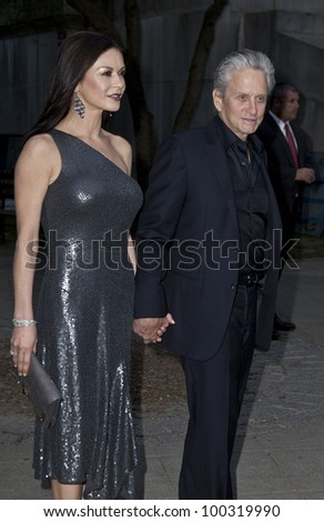 NEW YORK - APRIL 17: Actor Michael Douglas and actress Catherine Zeta Jones attend the Vanity Fair Party during 2012 Tribeca Film Festival at the State Supreme Courthouse on April 1, 2012 in New York - stock photo