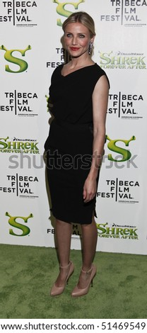NEW YORK - APRIL 21: Actress Cameron Diaz attends the 2010 Tribeca Film Festival opening night premiere of 'Shrek Forever After' at the Ziegfeld Theatre on April 21, 2010 in New York City - stock photo