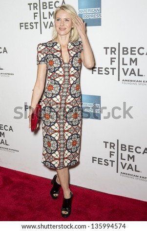 "NEW YORK - APRIL 20:Actress Naomi Watts attends World Premiere of ""Sunlight JR"" during the 2013 Tribeca Film Festival on April 20, 2013 in New York - stock photo"