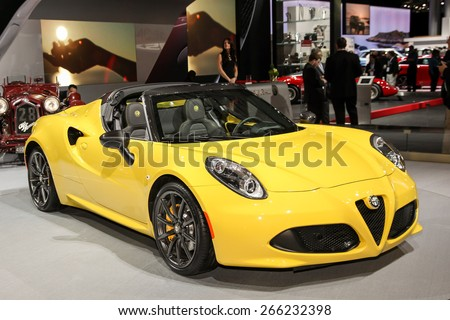 NEW YORK - APRIL 1: Alfa Romeo exhibit Spider 4C coupe at the 2015 New York International Auto Show during Press day,  public show is running from April 3-12, 2015 in New York, NY. - stock photo