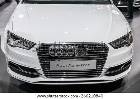 NEW YORK - APRIL 1: Audi exhibit Audi A3 e tron at the 2015 New York International Auto Show during Press day,  public show is running from April 3-12, 2015 in New York, NY. - stock photo