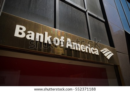 NEW YORK - APRIL 30, 2016: Bank of America logo in manhattan. Bank of America is an American multinational banking and financial services corporation headquartered in Charlotte, North Carolina.