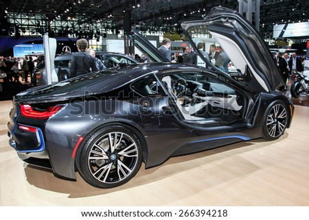 NEW YORK - APRIL 1: BMW exhibit 2015 BMW i8 at the 2015 New York International Auto Show during Press day,  public show is running from April 3-12, 2015 in New York, NY. - stock photo