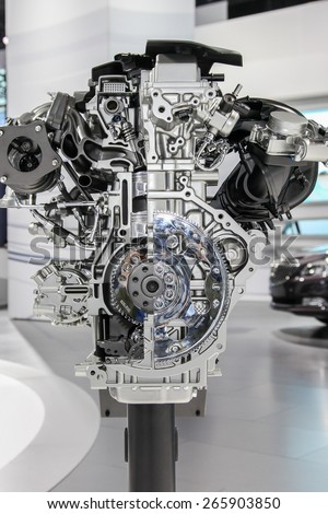 NEW YORK - APRIL 1: Buick exhibit 2.0L turbo engine at the 2015 New York International Auto Show during Press day,  public show is running from April 3-12, 2015 in New York, NY.
