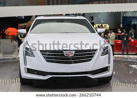 NEW YORK - APRIL 1: Cadillac exhibit Cadillac CT 6 at the 2015 New York International Auto Show during Press day,  public show is running from April 3-12, 2015 in New York, NY. - stock photo