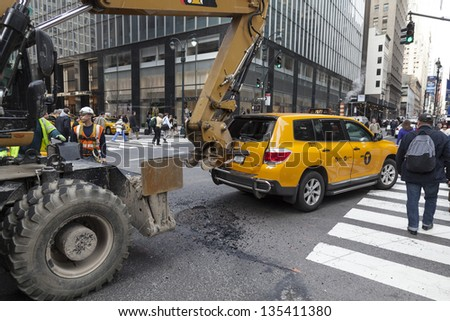 NEW YORK - APRIL 16: Car accident on a corner of Madison Avenue and 44th street in Manhattan on April 16, 2013 in New York City - stock photo