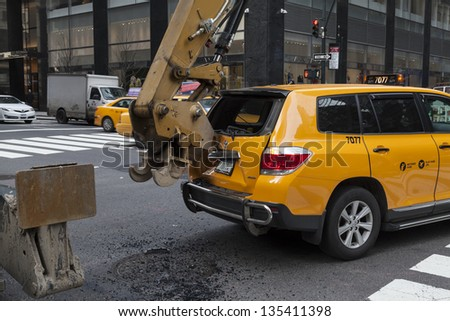 NEW YORK - APRIL 16: Car accident on a corner of Madison Avenue and 44th street in Manhattan on April 16, 2013 in New York City