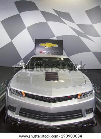 NEW YORK - APRIL 24: Chevrolet Camaro Z28 from on display in New York on April 24, 2014  - stock photo