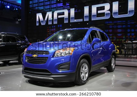 NEW YORK - APRIL 1: Chevrolet exhibit Chevrolet Trax LT at the 2015 New York International Auto Show during Press day,  public show is running from April 3-12, 2015 in New York, NY. - stock photo